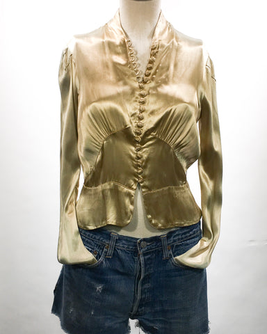 1920/30's Gold Liquid Satin Blouse