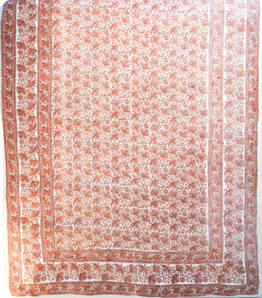 White and orange India coverlet