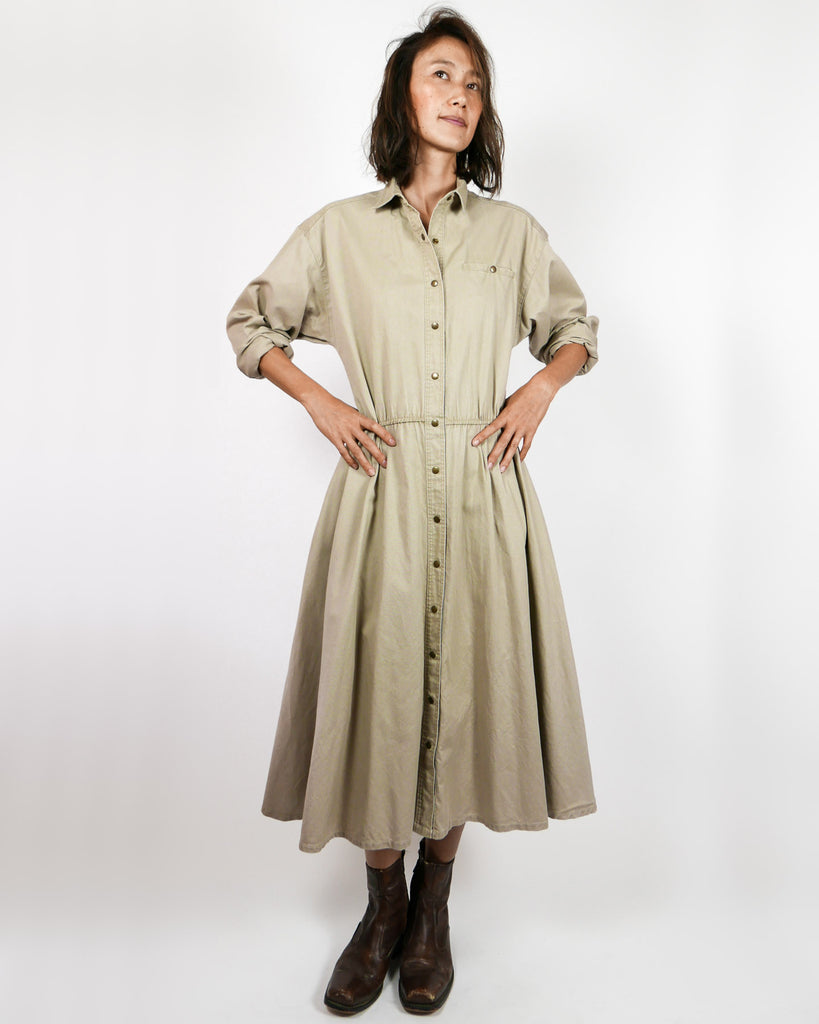Khaki Safari Dress Duster