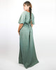 Teal Cape-Sleeve 1970 Maxi Dress