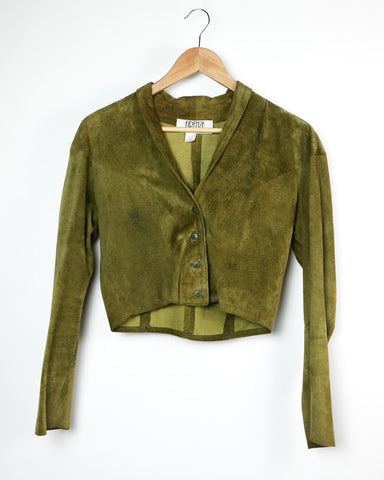 Green Suede Cropped Jacket