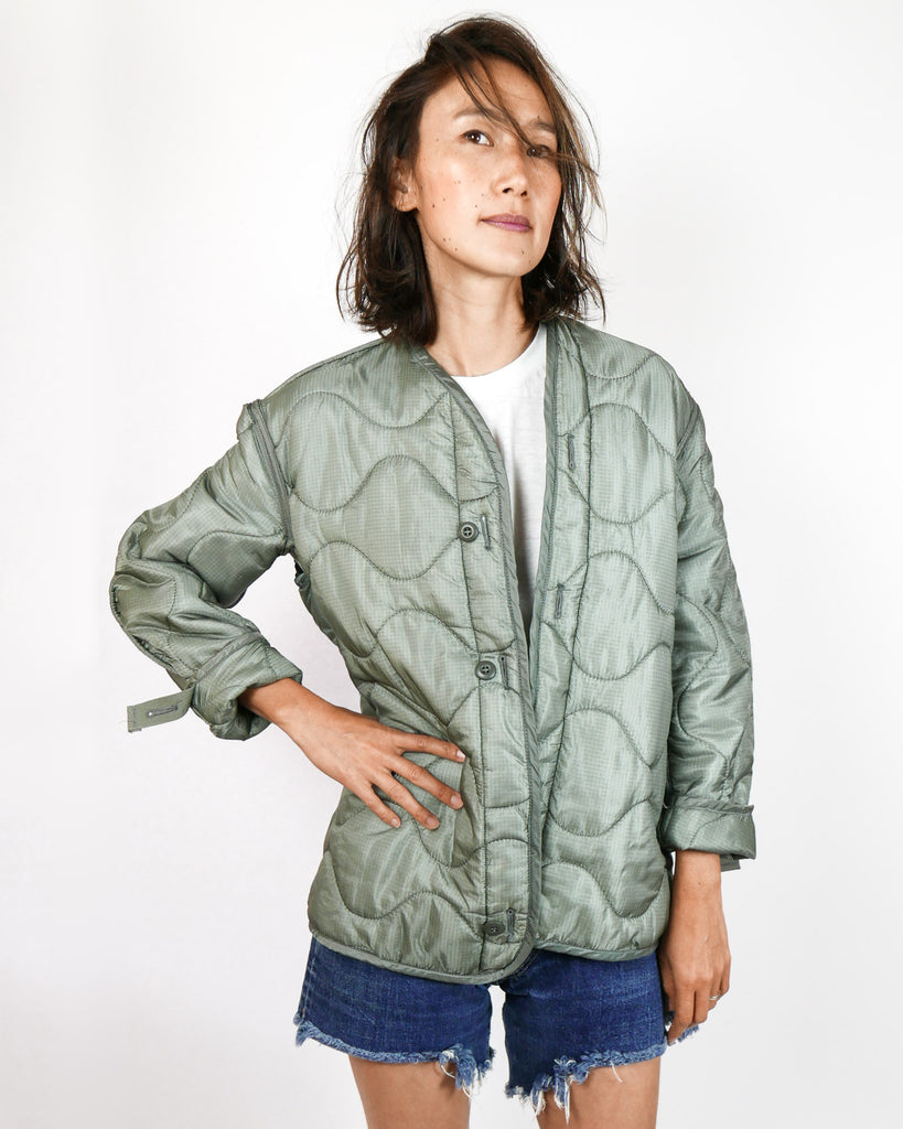 Quilted Sage Military Jacket Liner