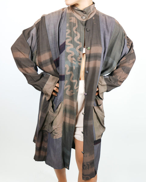 Artists Batik 1980's Duster Coat