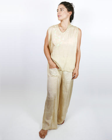 Pongee Silk Beach Pajamas Two Piece