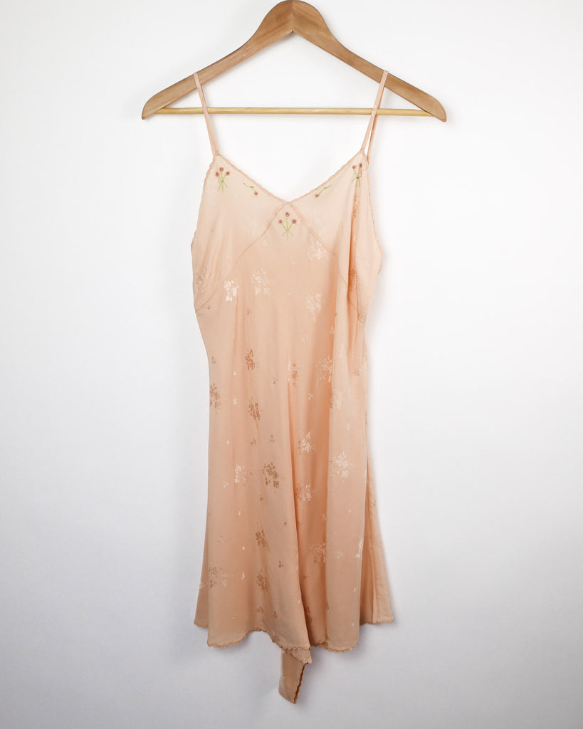 1920's Peach Silk Step-In