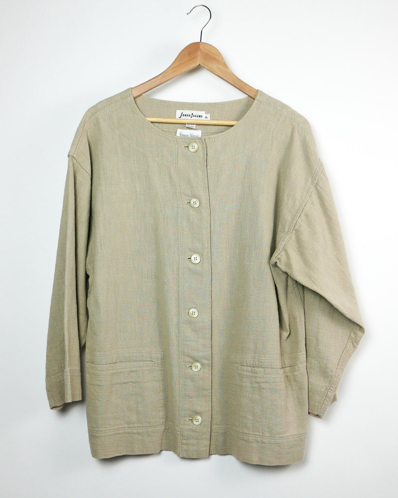 Japanese Natural Button Down Shirt Jacket
