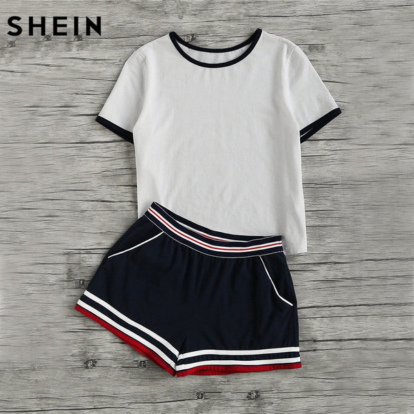SHEIN Casual Women Two Piece Outfits Summer Short Sleeve Round Neck Ringer Tee and Striped Waist Binding Shorts Set