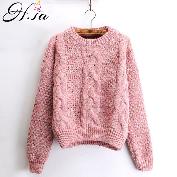 Women  O-neck Twisted Sweater