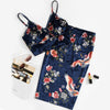 Navy Floral V Neck Sleeveless Velvet  Top and Pencil Skirt