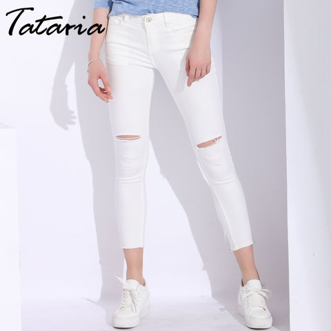 White Skinny Jeans Woman With Holes Slim Pencil Denim Pants