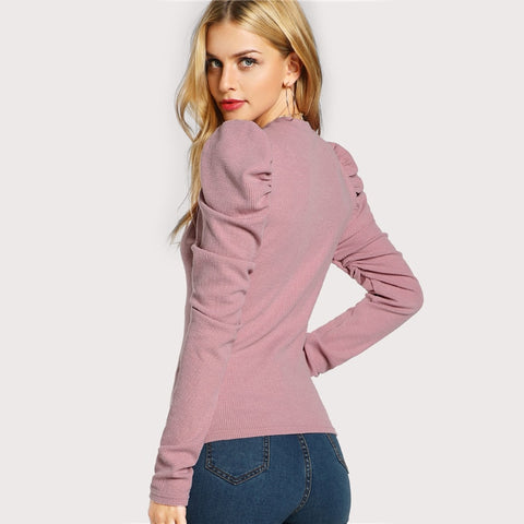 Elegant Pink Long Sleeve O Neck Top