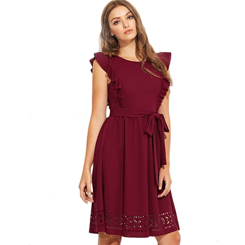 Maroon Elegant Ruffle Shoulder Flounce Trim Laser Cut Office Dress