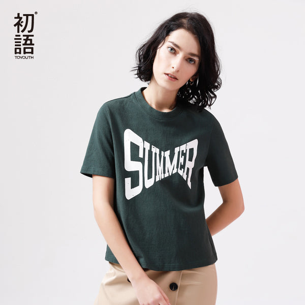 Vintage Green T-Shirt Fashion Printed Summer Short Sleeve Top