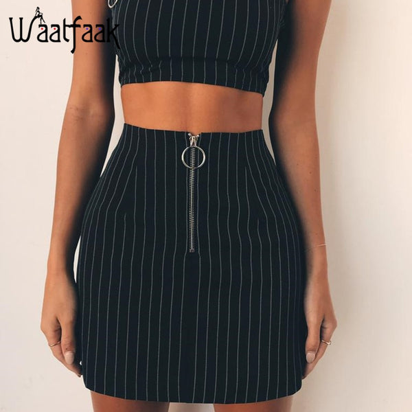 High Waist Casual Black Ladies Skirt