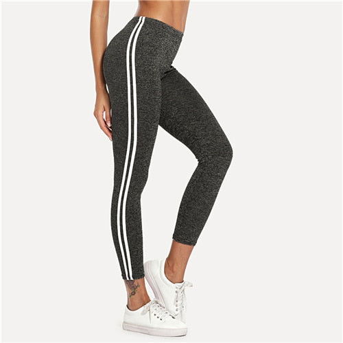 Striped Tape Side Elastic Waist Leggings