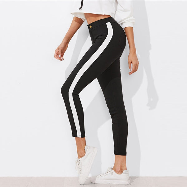 Contrast Panel Side Skinny Sporting Striped Pants