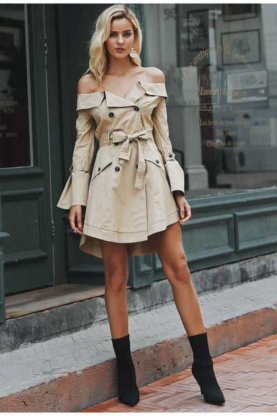 Sexy off shoulder trench short office dress
