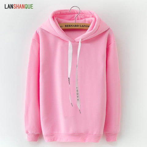 Women 2018 Brand Female Long Sleeve Solid Color Hoodie