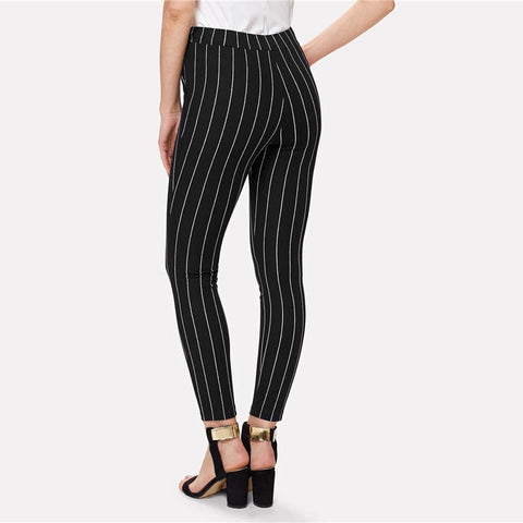 Office Vertical Striped Skinny Pants