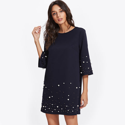 SHEIN Pearl Beading Tunic Dress 2017 New Fashion Womens Straight Dress Navy Three Quarter Length Sleeve Short Dress