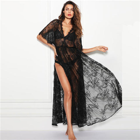 Black V Neck Surplice Wrap Sheer Eyelash Lace Night Dress