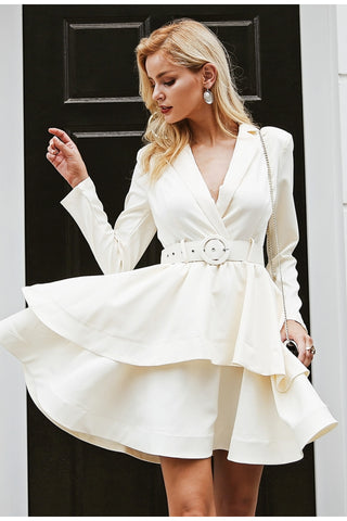 Elegant ruffle turndown collar white high waist short office dress