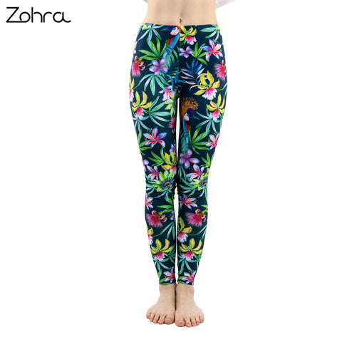 Green Floral Leaf Flower Pattern Leggings
