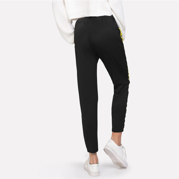 Contrast Tape Side Women Black Casual Mid Waist Pants