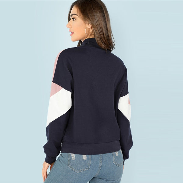 Multicolor O-Ring Zip Front Cut and Sew Sweatshirt