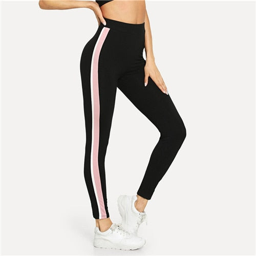 Women Pants Stripe Side Workout Leggings