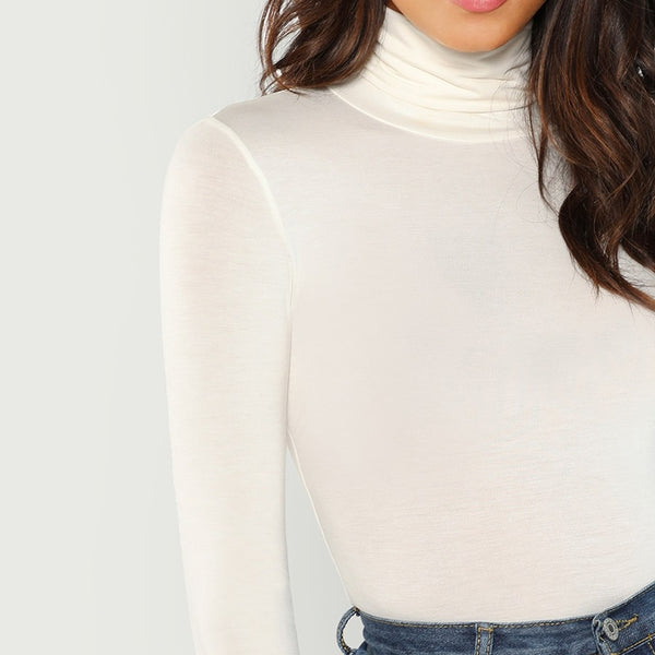 White Turtleneck Slim Fit T-shirt
