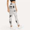 Black And White Highstreet Newspaper Letter Print Streetwear Leggings