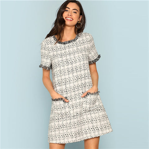 Grey Plaid Frayed Edge Tweed Short Office Dress