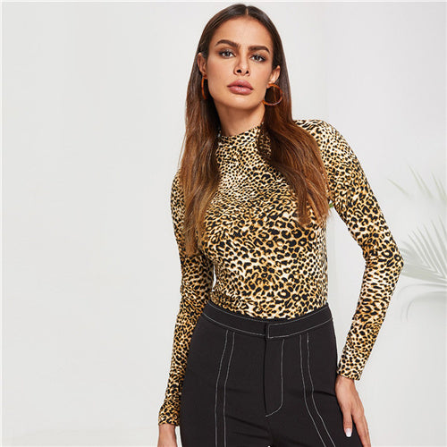 Elegant Mock Neck Leopard Tee Long Sleeve Stand Collar Tops
