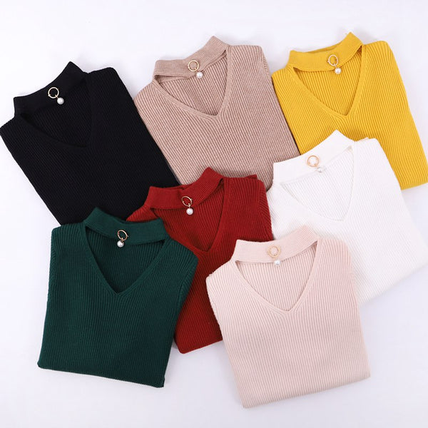 V-Neck Autumn Winter Pullover and Sweater