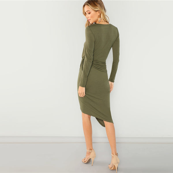 Army Green Elegant Casual Draped Asymmetric Office Dress