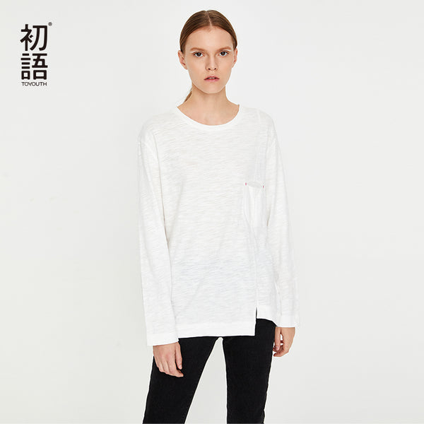 New White Loose Long Sleeve T-Shirts Top