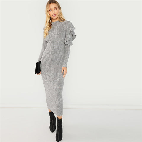 SHEIN Grey Elegant Party Ruffle Detail Round Neck Long Sleeve Natural Waist Solid Dress 2018 Autumn Highstreet Women Dresses