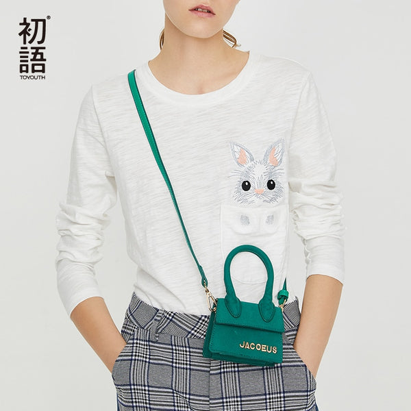 White Kawaii Rabbit T-Shirts Women Embroidery Long Sleeve Top