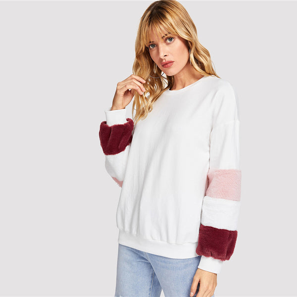 White Elegant Preppy Color Block Fleece Sleeve Faux Fur Sweatshirt Hoodie