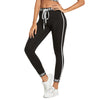 Black Fitness Letter Print Drawstring Workout Elastic Casual Leggings