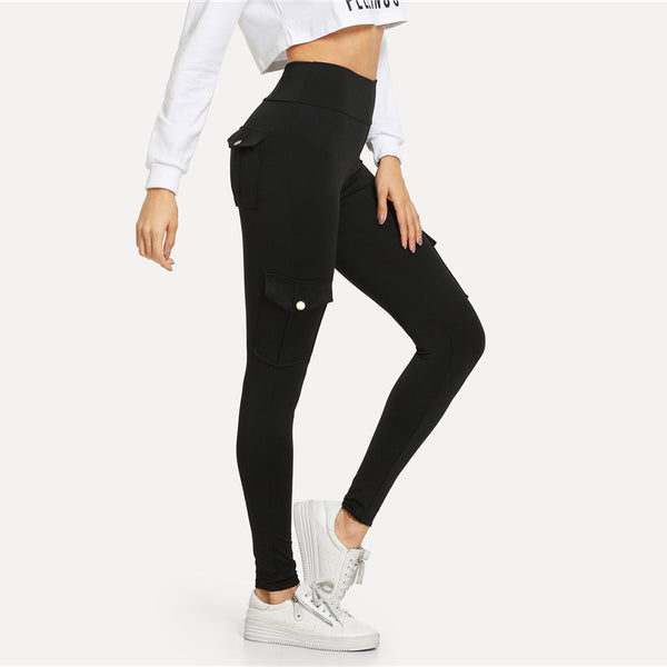 Black Fitness Button Pocket Detail Solid Leggings