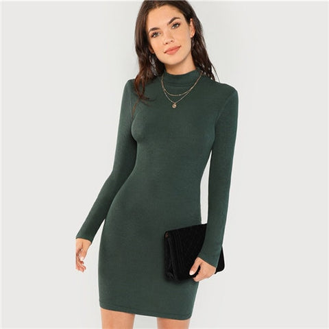 Green High Neck Ribbed Sexy Vintage Mini Knit Dress