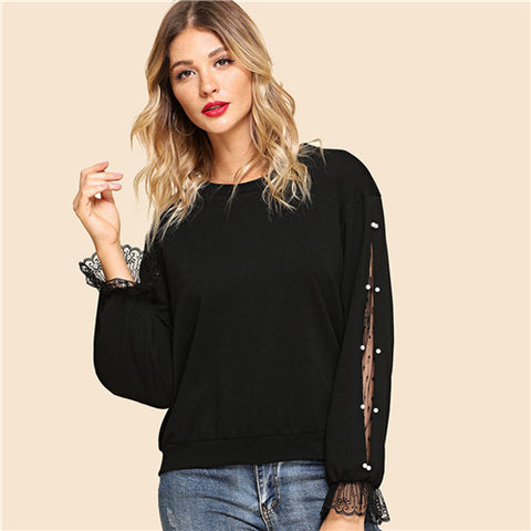 Black Elegant Highstreet Pearls Beaded Lace Contrast Hoodie