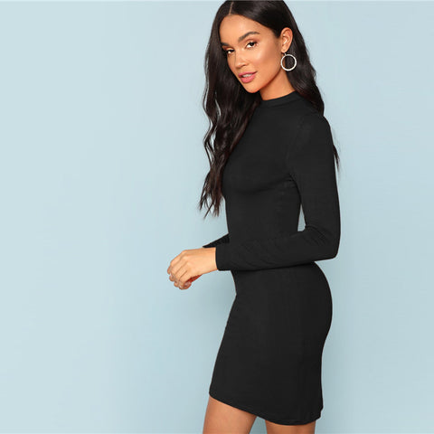 Black Elegant Office Lady Mock Neck Short Office Party Dresses