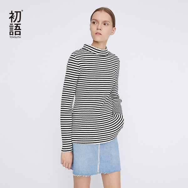 Long Sleeve Striped T-Shirt Women Tight Long Sleeve Cotton Top