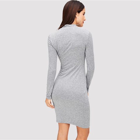 Grey Elegant Office Lady Mock Neck Short Office Dresses