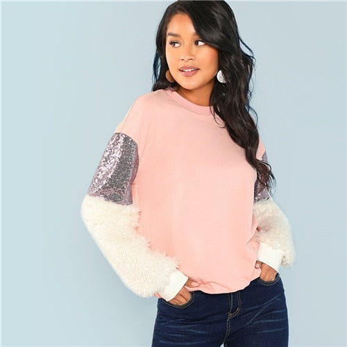 SHEIN Multicolor Preppy Elegant Round Neck Contrast Faux Fur Sleeve Colorblock Sweatshirt 2018 Autumn Women Sweatshirts
