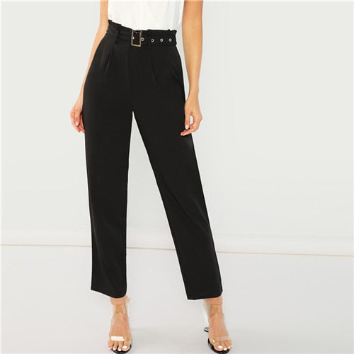 Black Elegant Office Lady Pleated Tailored Buckle Belted Solid Minimalist Pants