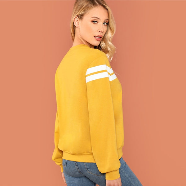 Mustard Striped Tunic Pullovers Hoodie